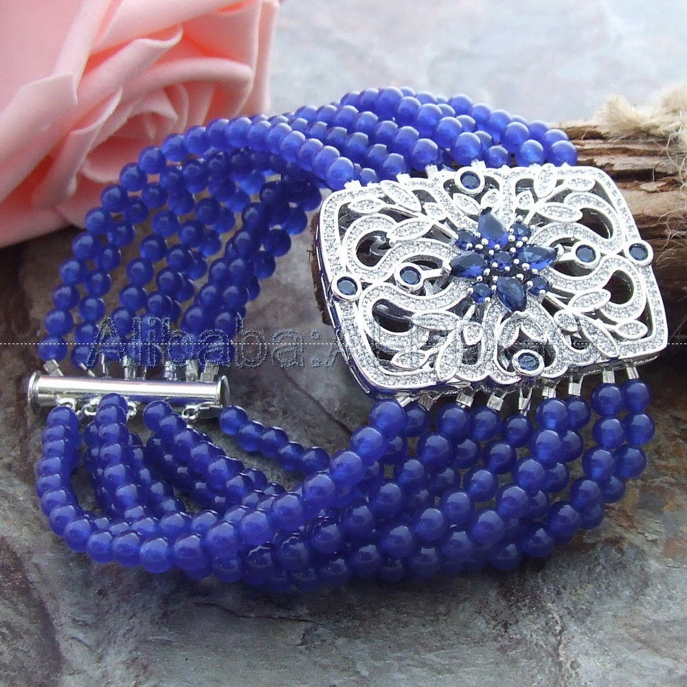 8 9 Strands Blue Stone Bracelet CZ Connector