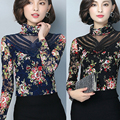 winter 2016 new bead Slim thin large long-sleeved Rose Print Lace t-shirt plus velvet thick high warm bottoming shirt sexy top