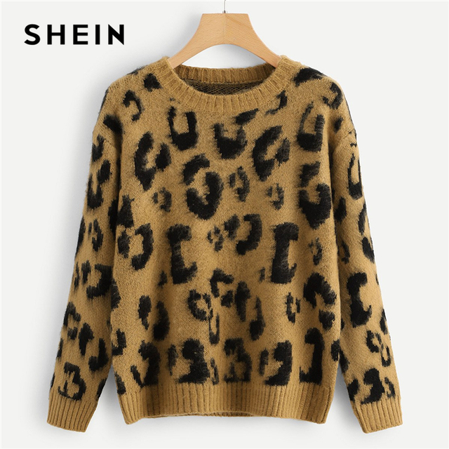 0321b8ce96c8 SHEIN Multicolor Highstreet Elegant Leopard Print Fuzzy Round Neck  Pullovers Jumper 2018 Autumn Casual Campus Women Sweaters