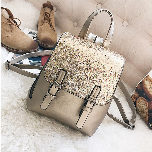 Small Sequin Backpack Women Shoulder Bag Female Leather Schoolbag For Girls  Rucksack Teen Travel Daypack Gold 7d0af1a7f95ba