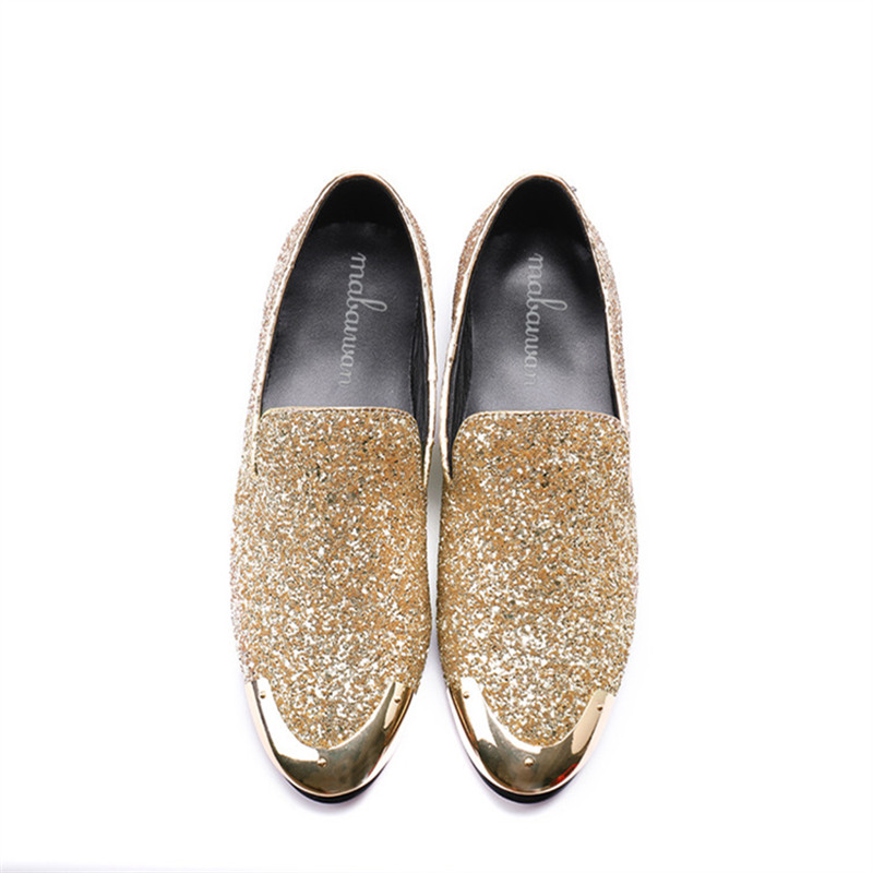 Mabaiwan 2018 Fashion Silver Glistening Glitter Men Loafers Sequins ... b7300c272a4d