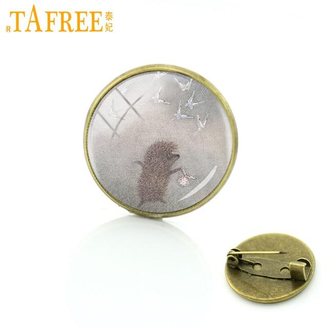 TAFREE Hedgehog Nella Nebbia Spilla per Fatti A Mano di Modo Perni rotondi di Vetro Spilla per le donne di stile animale dei monili del metallo H222