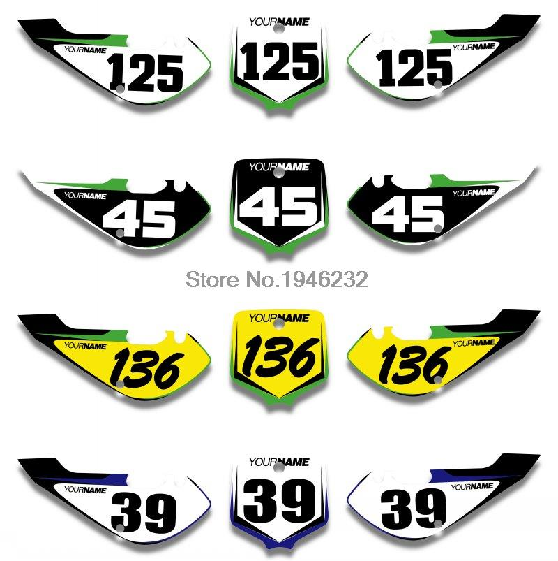 Us 29 99 25 Off Custom Number Plate Backgrounds Sticker Decals Graphics For Kawasaki Klx110 2002 2009 Kx65 2000 2018 In Decals Stickers From