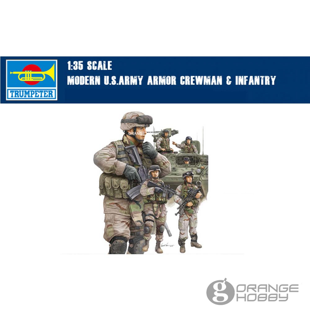 OHS <font><b>Trumpeter</b></font> 00424 1/35 Modern U.S. Army Armor Crewman and Infantry Miniatures Assembly Military figures Model Building Kits oh image