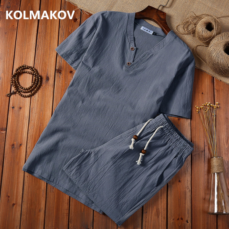 (Shirt + shorts) 2019 summer fashion men shirt Cotton and linen shirts Short sleeve men's casual shirts men 2 pieces size M to 5