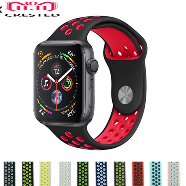 CRESTED Sport strap For Apple Watch Band 44mm/40mm silicone iwatch series 4 3 2 1 42mm/38mm wrist bracelet rubber belt correa
