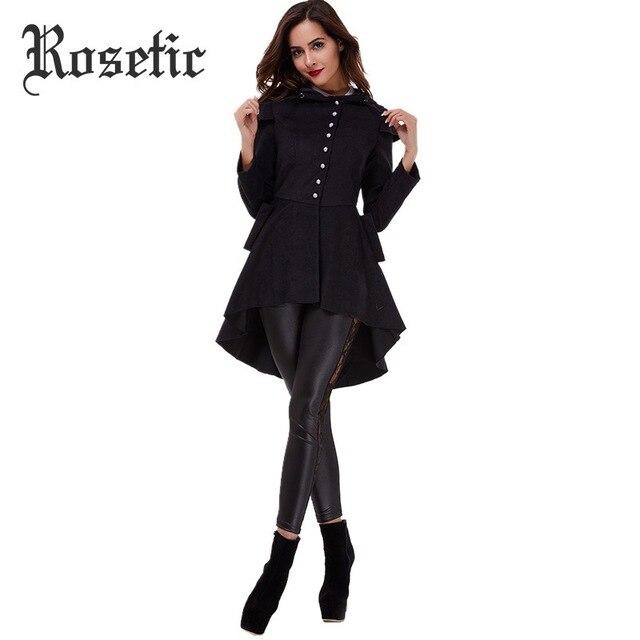 Rosetic Асимметричная Готический Черная куртка старинные однобортный раздвоенным хвостом с длинным рукавом Тонкий Женские Пальто Популярные весенние пальто