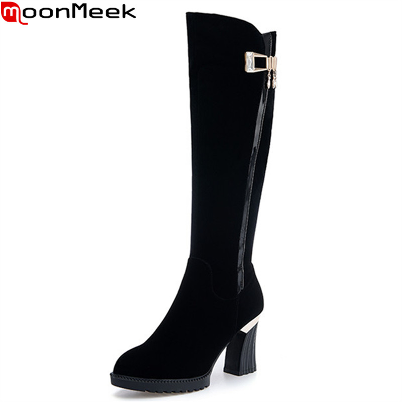 MoonMeek black flock new arrive women boots fashion zipper buckle knee high boots simple solid color lady prom boots цена и фото