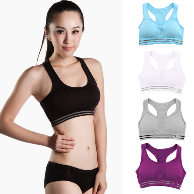 a0ada48ccb01d Sexy Women Fitness Bra Padded Compression Workout Tops Bra Sleeveless Vest  Quick Dry Elastic Underwear Ladies Seamless Tanks bra