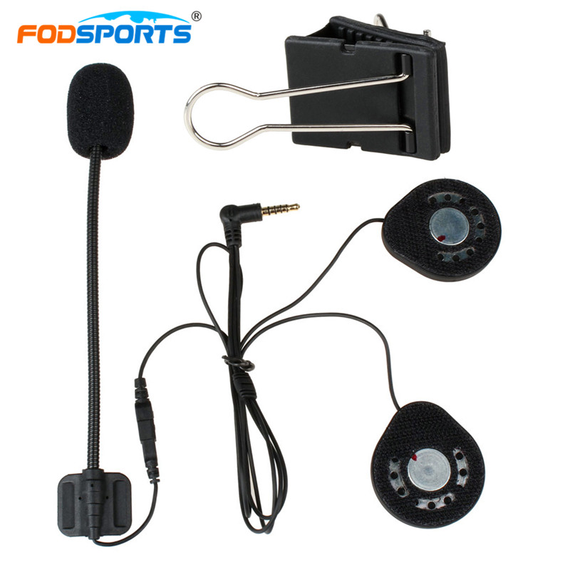 Fodsports T9-S Intercom Headphone Hard And Soft Wire With Headset Clip Universal Helmet Headsets Earphone Stereo Music