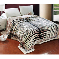 Fashion Tiger Skin Thick Warm Raschel Fur Double Layers Microplush Soft Faux Mink Flannel Blanket Throws Full/Queen Size Striped