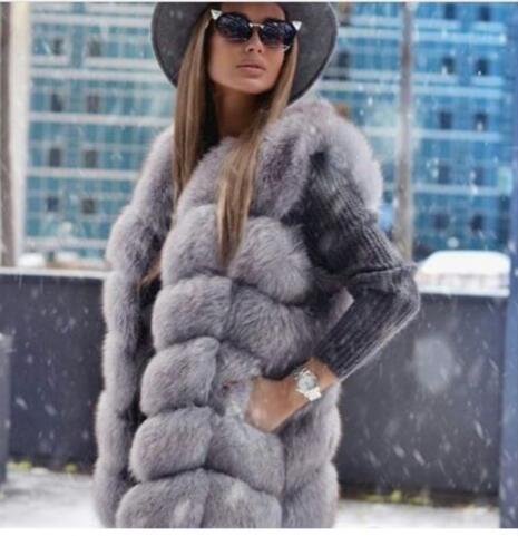 Nouveau 2018 Mode GÉNIAL Femmes s Vraie fourrure Gilets Gilets Personnalisé automne fourrure gilet de fourrure de renard Naturel chiffons abrigo mujer