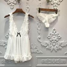 Lisacmvpnel чистая пряжа Сексуальная женская ночная рубашка+ Pantie набор Глубокий V кружева женская пижама
