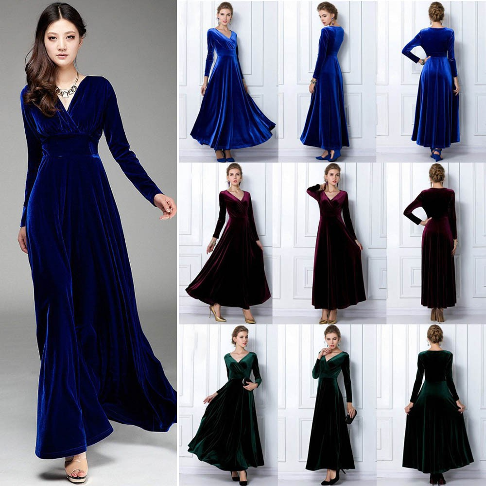 Spring Autumn Sexy Elegant Lady Velvet Warm Maxi Dress Women Long Kemeja Row Hitam Shop At Aeproductgetsubject