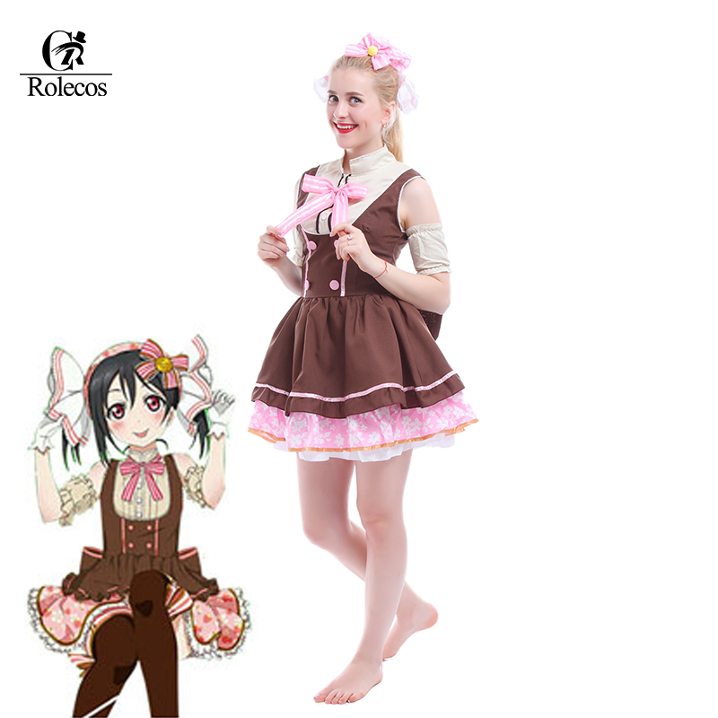 Rolecos Cosplay Costume Anime Love Live Nico Yazawa Cosplay Costumes Maid Dress