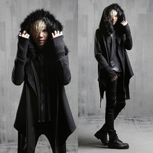 2017 Spring and autumn male cloak woolen trench fashion cloak Men outerwear male medium-long fur collar outerwear with a hood