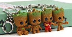 4 pièces/ensemble Mini arbre homme Grootted Doll porte-clés jouets gardiens de la galaxie bébé Treeman porte-clés pendentif figurine jouet