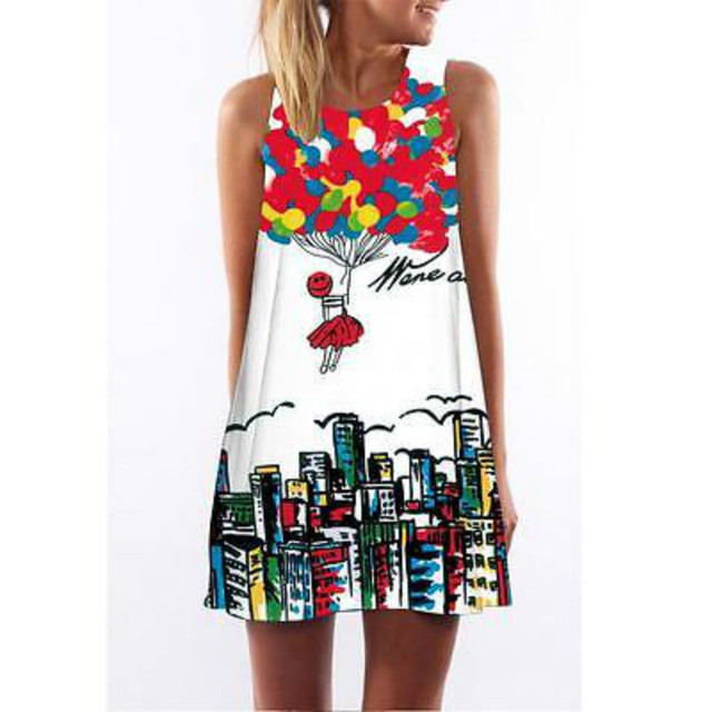 Women  Floral Digital Print Dress Casual Loose Sleeveless Mini Dress  Print Dress