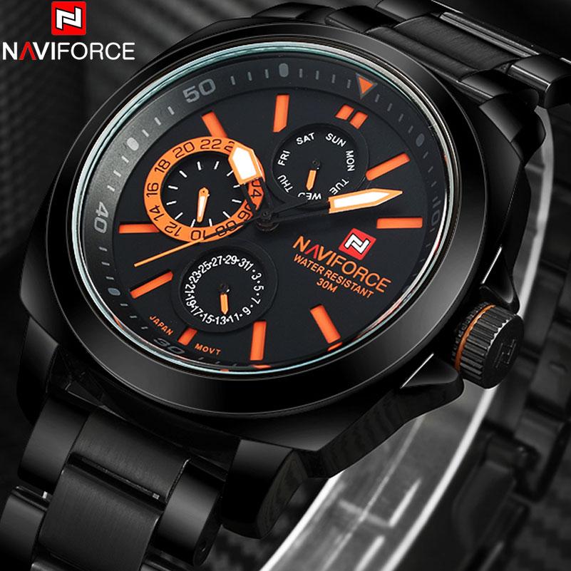 ФОТО 2017 New NAVIFORCE popular brand sport watches men running Japan quartz Wristwatch auto date black orange stainless steel band