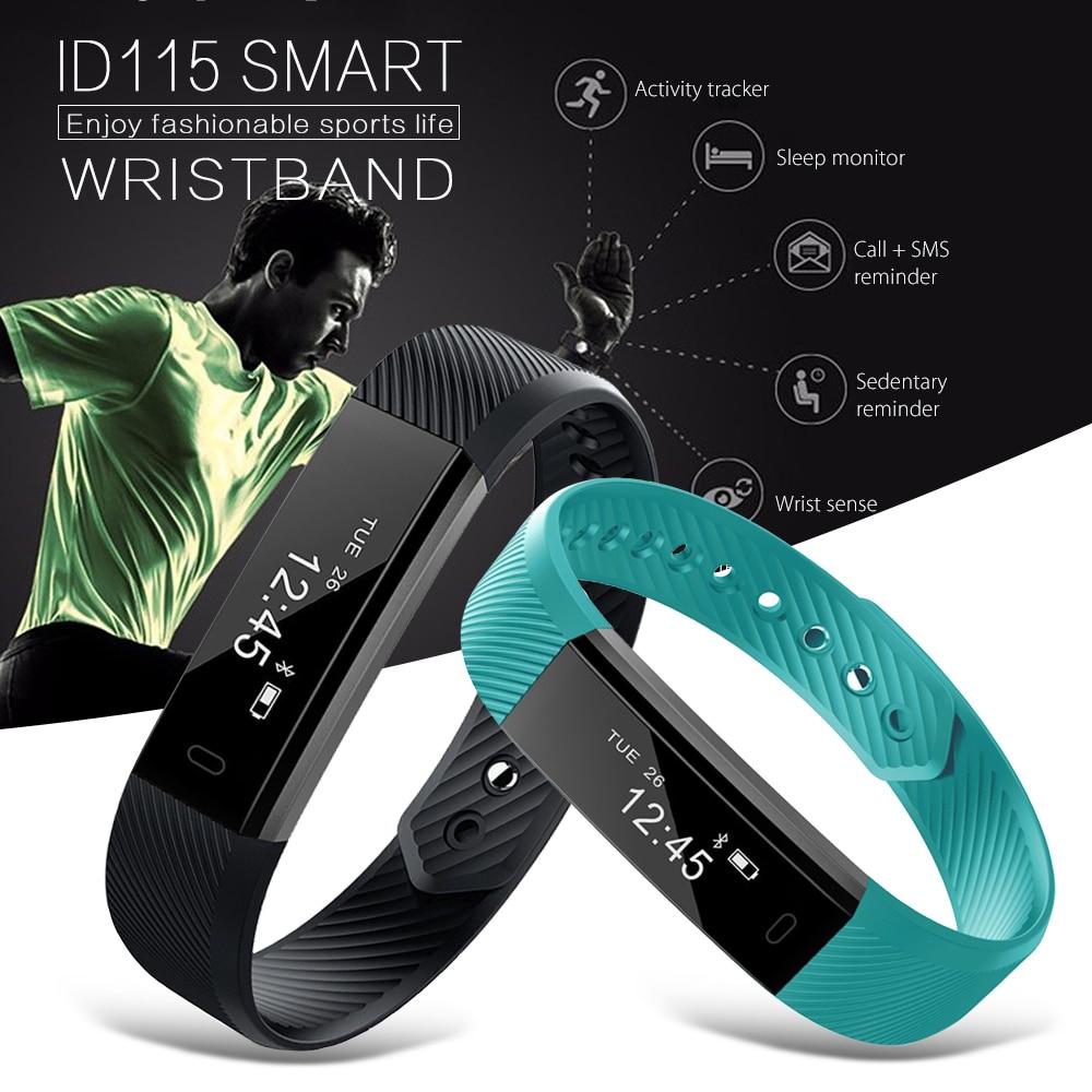 Id115 Sports Smart wristband actividad Sleep Monitores cámara remota reloj de alarma pulsera cargador USB para iOS androd