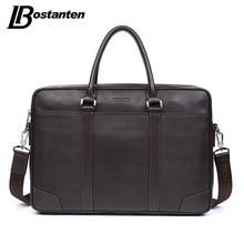 лучшая цена BOSTANTEN Cow Genuine Leather bag Business Men bags Laptop Tote Briefcases Crossbody bags Shoulder Handbag Men's Messenger Bag