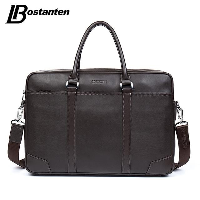 BOSTANTEN Cow Genuine Leather bag Business Men bags Laptop Tote Briefcases Crossbody bags Shoulder Handbag Men's Messenger Bag