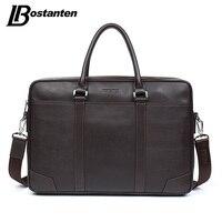 BOSTANTEN Cow Genuine Leather Bag Business Men Bags Laptop Tote Briefcases Crossbody Bags Shoulder Handbag Men