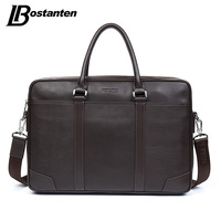 BOSTANTEN Cow Genuine Leather Bag Business Men Bags Laptop Tote Briefcases Crossbody Bags Shoulder Handbag Men