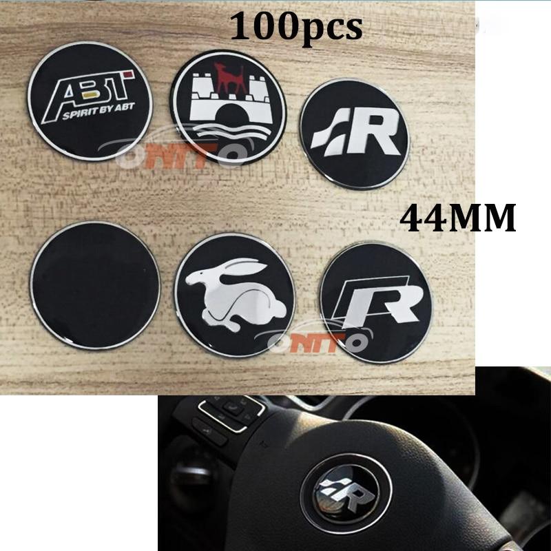100 pcs/lot Steering Wheel emblem stickers for R Wolfsburg Rabbit SR Logo for vw Passat B6 B7 CC Golf Jetta MK5 MK6 Tiguan кольцо chanel cc logo
