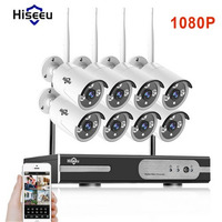 Hiseeu 1080P Wireless CCTV System 2 0MP HD Wi Fi NVR Kit Outdoor IR Night Vision