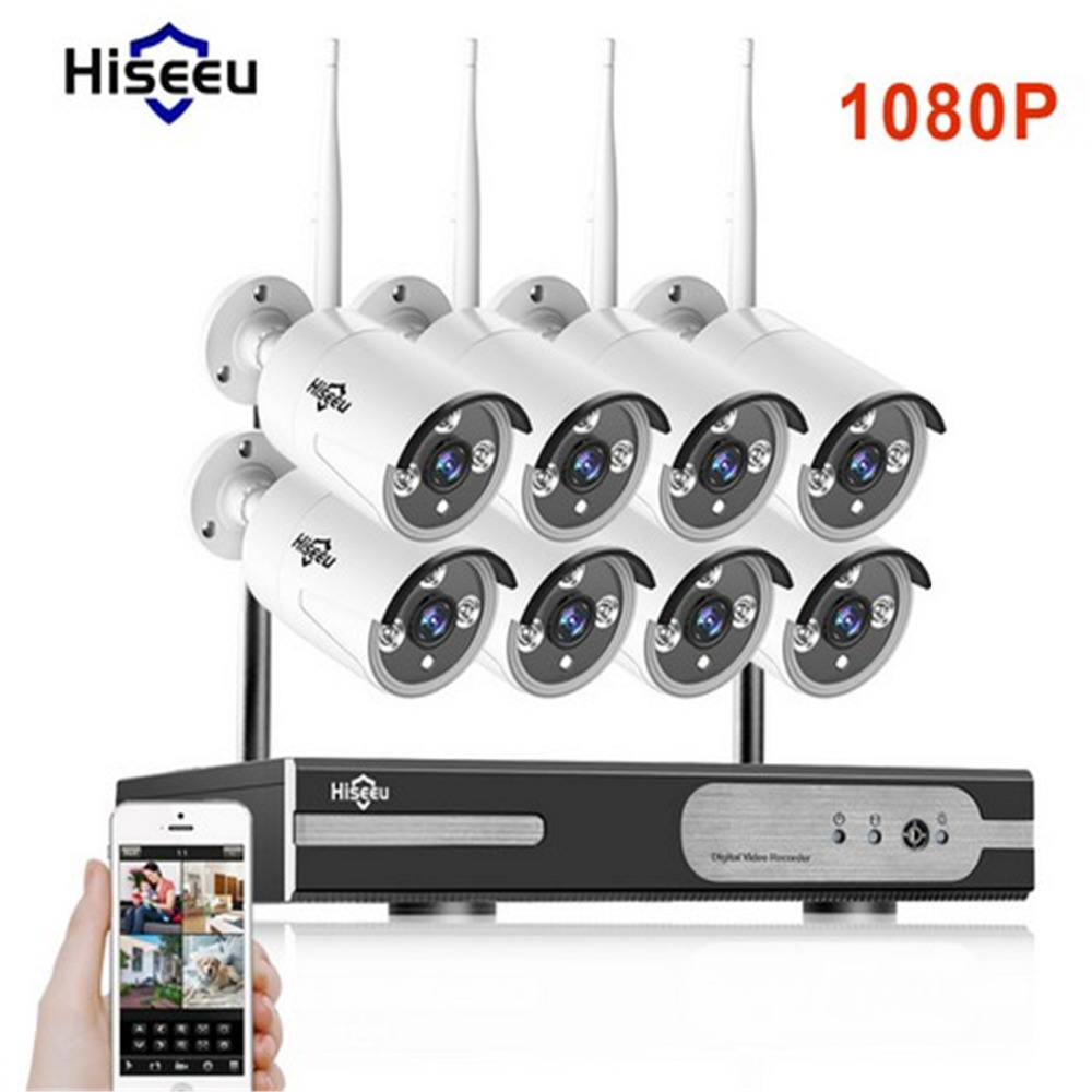 где купить hiseeu 1080P Wireless CCTV System 2.0MP HD Wi-fi NVR kit Outdoor IR Night Vision IP Wifi Camera Security System Surveillance kit по лучшей цене