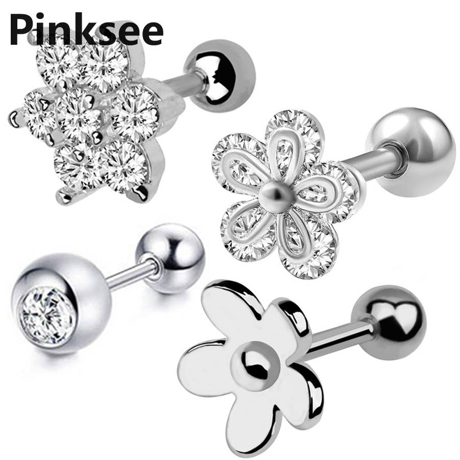 16G 4mm CZ Crystal Square Steel Ear Cartilage Tragus Helix Stud Barbell Earring