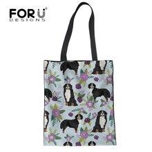4062c85c8c FORUDESIGNS Bernese Mountain Dog Pet impreso mujeres bolsos bolsas paño de  algodón reutilizable supermercado compras grande