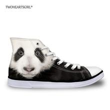 Twoheartsgirl Kawaii Nyomda Animal Panda Cat High Top Vászon cipő Klasszikus lakások Női Vulcanize cipők 3D-s Fashion Sneakers