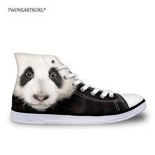Twoheartsgirl Kawaii Druck Tier Panda Katze High Top Canvas Schuhe Klassische Wohnungen Frauen Vulkanisieren Schuhe 3D Fashion Sneakers