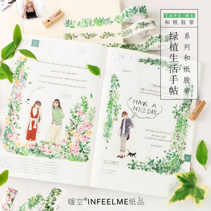 Green Plant Life Modern Ladies And Gentlemen Washi Tape Adhesive Tape DIY Scrapbooking Sticker Label Masking Tape ремни lee ремень gentlemen