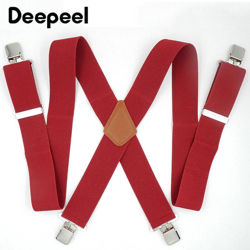 Deepeel 5*120cm 4 Clips Men's Suspenders For Obese Men Braces Leather Belt Elastic Adjustable Pants Strap Clothing Trouser Strap
