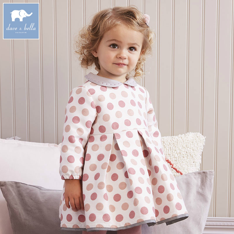 DB5964 Dave Bella осень для малышей принцессы для девочек свадебное платье для дня рождения модная одежда для детей для маленьких детей vestido