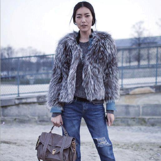 Taille 5xl M483 Plus Veste Survêtement Gris De D'hiver Renard S Manteau Lady Rétro Fourrure 2018 Vison Sexy Court Manteaux Femmes Furry xqYIRR