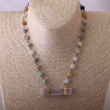 MOODPC Free Shipping Amazonite Stones Bohemian Tribal Jewelry Rosary Chain With Rectangle Druzy Pendant Choker Short Necklace