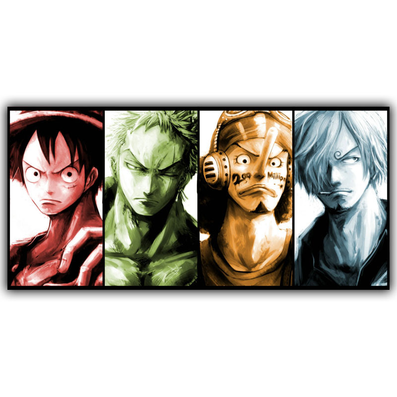 Us 84 Japanese Anime One Piece Luffy Roronoa Zoro Usopp Sanji Poster Bedroom Decorative Arts Silk Wallpaper Dm365 In Painting Calligraphy From