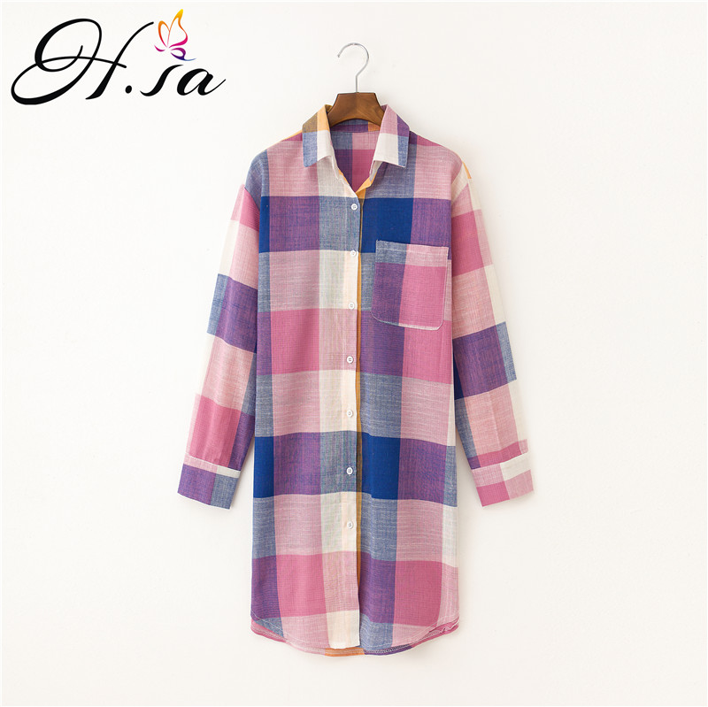H.SA 2017 Autumn Blusas Women Plaid Shirt Tops Korean Long Sleeve Linen Blouses Loose Casual Long Shirt Cheap Clothes China