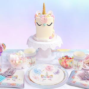 Image 3 - QIFU Единорог товары для вечеринок одноразовая посуда единорог украшение для дня рождения первый мой маленький пони день рождения девочка мальчик Единорог