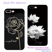 New Fashion 3D White Flower Paint Phone Case For iPhone 6 Vintage Soft TPU Back Cover Cases Coque iPhone6 X 7 8 6s Plus