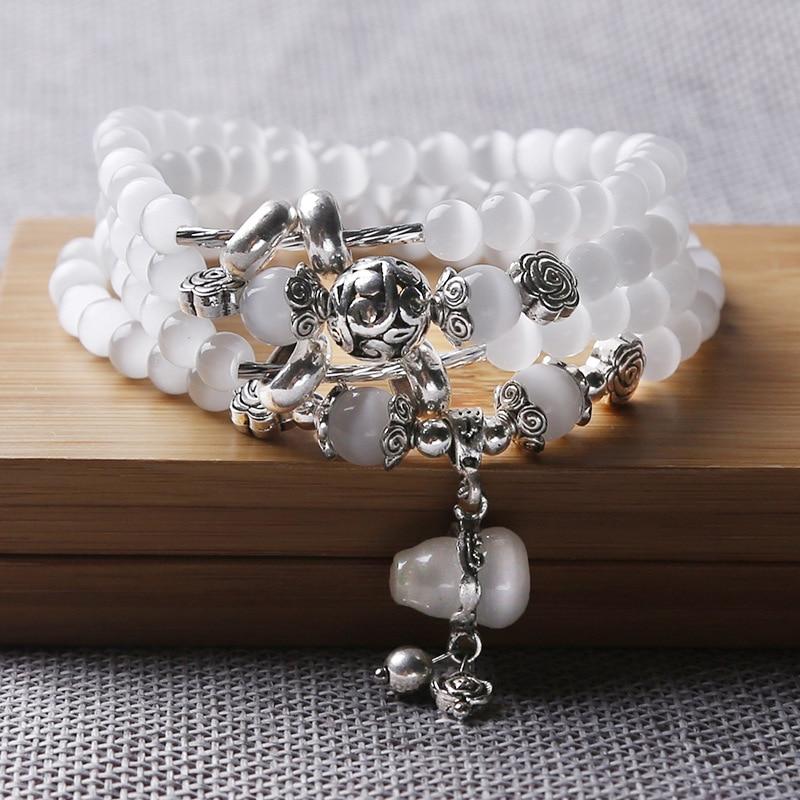 DIEZI Yoga White 108 6mm Beads Charm Bracelets & Bangles Gift Strand Mala Bracelet Men Women Natural Stones Necklace Jewelry