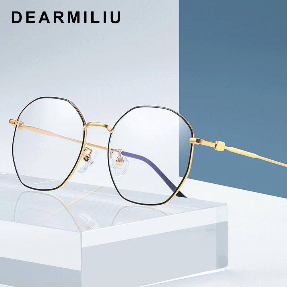 Aggressive Dearmiliu Rose Gold Polygon Anti Blue Light Blocking Glasses Led Computer Reading Glasses Radiation-resistant Gaming Eyewear Elegant And Sturdy Package