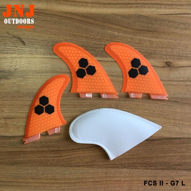 FREE SHIPPING orange FCS II L G7 surf fins Tri-set G7 FCS 2 L thruster g7 fcs surfboard fin top quality orange color fcs ii g7 l surfboard fins made by carbon and honeycomb tri set fcs 2 l thruster fin