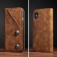 Винтаж Магнитный кожа флип чехол слот для карт Samsung Galaxy S8 плюс Примечание 8 iPhone X 6 6 S 7 8 плюс Бумажник Обложка сумка бронза