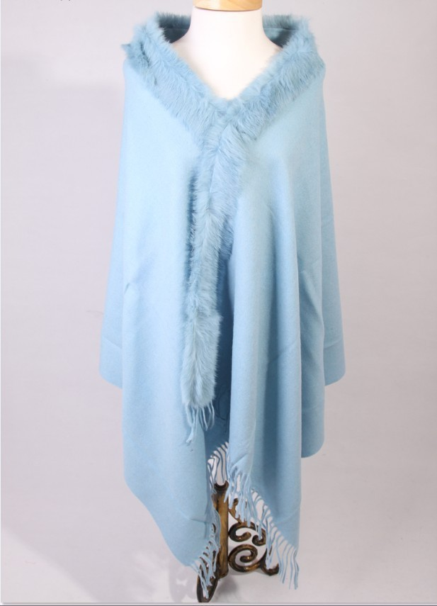 Free Shipping Baby blue Winter Fashion Ladies' 100% Wool Cashmere Rabbit Fur Shawl Scarf Thick Warm Wrap SY 2