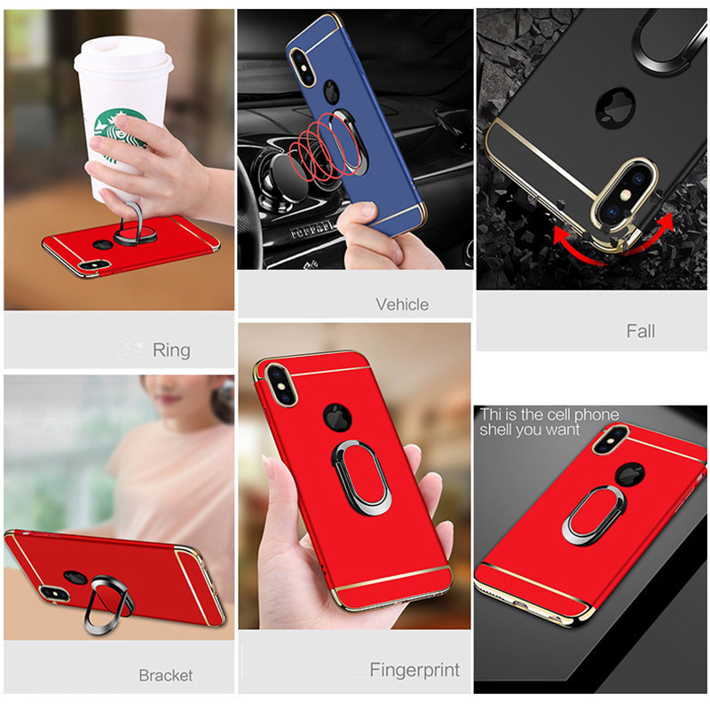 HTB1FRLrONTpK1RjSZFKq6y2wXXa9 EPENA Ultra Thin For iphone 11 pro Xs Max XR Plating Hard Pc Cover 3 In 1 Case For iphone x 7 8 6S 6 Plus Case phone Ring Lanyard
